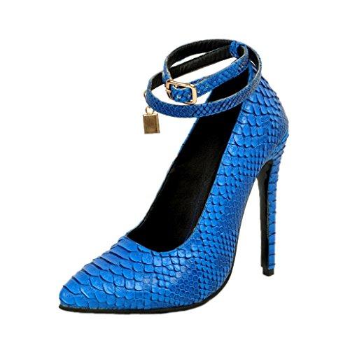 Kolnoo 100mm Damenschuhe Knöchelriemchen Pumps Pfennigabsatz Animal Print Schuhe EU39