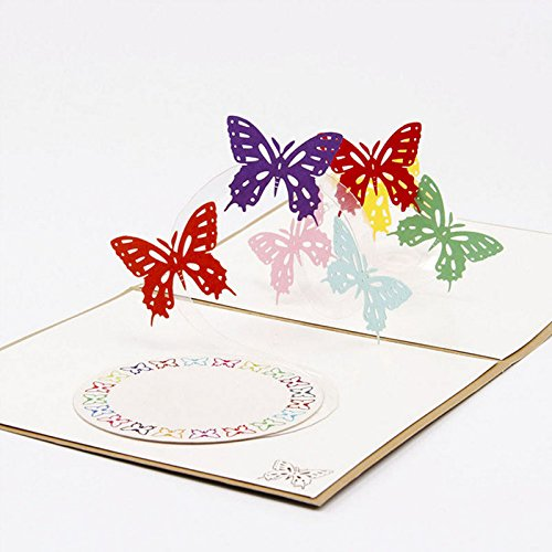 Pop Up Greeting Card Butterfly Happy Anniversary Birthday Valentine Christmas - Storage Retirement Romantic Individual Well Making Novelty Note Cute Large Modern Made Gre ()
