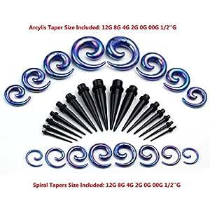 JOVIVI Lot 16 Paires Cone Plug Acrylic + Ecarteur d'Oreille Expander en Forme d'Escargot (bleu fonce)