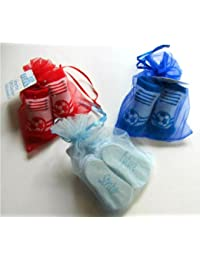 Soft Touch Pair Of Football Socks In An Organza Gift Bag 0-6mths - Blue