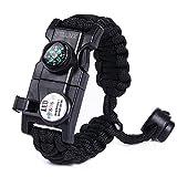Paracord 550Armband-Set verstellbar Survival Armband–(SOS LED-Licht, Kompass, Fire Starter, Trillerpfeife, Schaber, Messer)–von xntbx–Beste Wilderness survival-kit für Wandern/Camping, Herren, schwarz