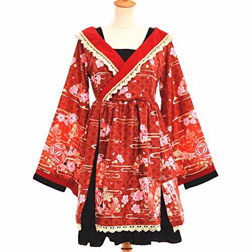 nischen Stil Kimono Bademantel Kleid Anime Cosplay YUKATA Serie Japanischen Sommer Nette Mädchen Anime Cosplay Kostüme (Rot, S) (Japanische Yukata Kostüm)