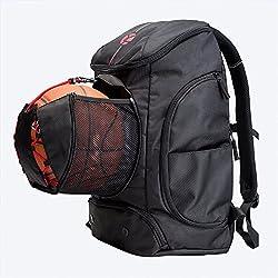 Kuangmi mochila con bolsa de bola zapatos bolsillo mojado bolsas de ropa plegable para deportes al aire libre baloncesto fútbol viajes uso escolar, negro
