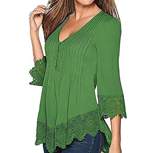 SUNNOW Damen Langarmshirt New Mode Herbst Tops V-Ausschnitt Einfarbig Aufdruck Spitze T-Shirt Locker Faltenbluse (M, Grün) (T-shirt Cooles Grünes)