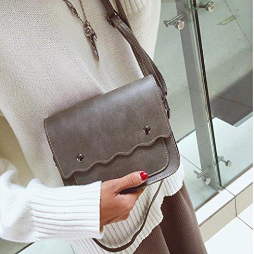 BZLine® Frauen Umhängetasche Clutch Shopper Handtasche Hobo MessengerTote, 19cm*16*6cm Grau