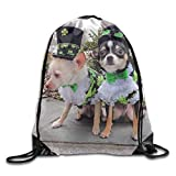WCMBY Dog Dressed In Costume Drawstring Bag for Traveling Or Shopping Casual Daypacks School Bags
