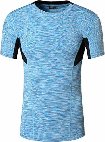 jeansian Uomo Camouflage Tactical Formazione Fitness la Maglietta Muscle Training Workout T-shirt Tight Sport Suit SMF012 Blue