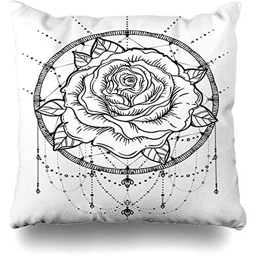 Ace Mate Funda de Almohada para Colorear Colorear contornos Atrapasueños Flor de Rosa Atrapasueños Signos detallados Símbolos Funda de Almohada de Tinta