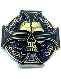 Patch Nation Tête de Mort et Croix Celtique Biker Boucle de Ceinture 30ecd85af56
