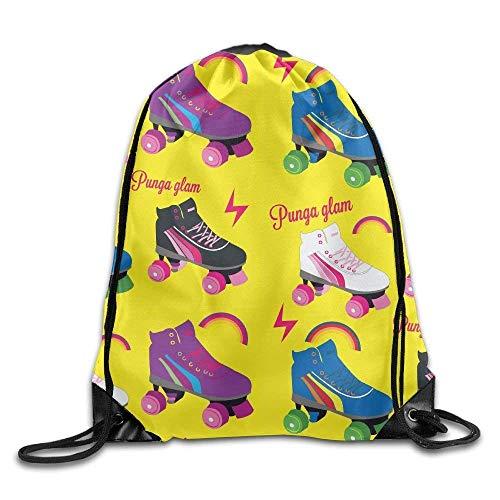 rwwrewre Kordelzug Turnbeutel,Roller Skate Pattern Drawstring Bag Backpack Bags Sports Sack String Backpack Storage Bags for Gym Traveling (Roller Bag Gym)