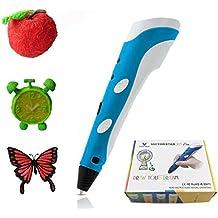 Victorstar @ Pluma Impresión Estereoscópica 3D / Pluma 3D - RP100A Portátil - Azul + Blanco Para el Dibujo 3D Garabatos + Adaptador De Corriente + ABS Filamentos + Mini destornillador + Manual de Español / el regalo Increíble para los niños …