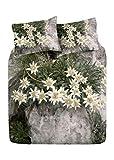 Centesimo Web Shop Completo Lenzuola Letto 2 Misure 100% Cotone Maxi Stampa PAESAGGI Montagne Bosco Foresta Neve Stelle Alpine - Due piazze Verde
