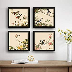 SAF Love Bird Designer Set of 4 UV Textured Painting (19 x 19 Inches, SAF_SET4_12)