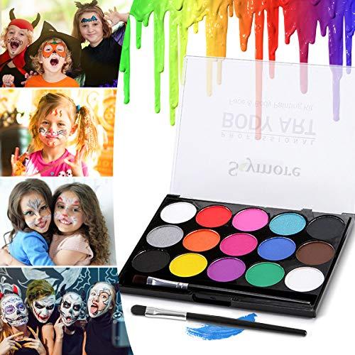 Skymore Kinderschminke Set 15 Farben, Schminkfarben Kinder Gesichtsfarbe, Schminkset Kinder, Körperfarben für Kinder Halloween Karneval Make Up Set Gesichtsfarbe Bodypainting