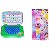 Aquaras Mini Learning Laptop And Princess Kids Projector Watch Pack Of 2