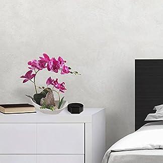 Arreglos florales de orquídeas artificiales con jarrón de porcelana blanca, planta de flores artificiales en maceta Phalaenopsis Bonsai Set