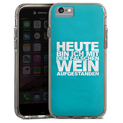 Apple iPhone 7 Bumper Hülle Bumper Case Glitzer Hülle Wine Wein Phrases Bumper Case transparent grau