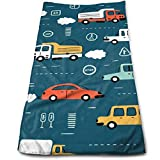 Doodle Toy Cars And Traffic Signs Lightweight Towels Bathroom Towels Sports Towel Microfiber Towels Hand Towels Perfect for Home, Bathrooms, Spa, Pool And Gym