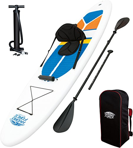 Bestway SUP White Cap Stand Up Paddle Board und Kajak Komplett-Set, aufblasbares, mit Doppel-Paddel (221cm), Hochdruck-Pumpe und Zubehör, 308 x 81 x 10 cm, bis 113kg