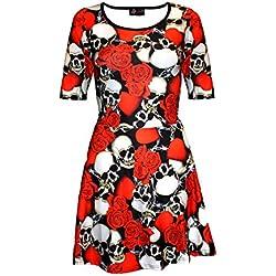 Vestido de calaveras y rosas corazón alambre gótico manga corta