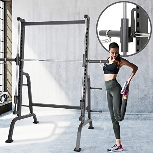 Physionics Power Squat-Rack Cage | mit Linearlagerführung für sicheres Training und Hantelablage, max. Belastung 250kg | Kraftstation, Fitnessstation, Kniebeugenständer, Langhantelständer (Rack-cage Squat)
