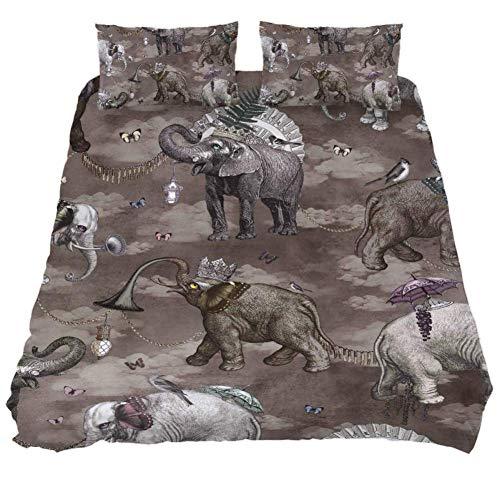 TIZORAX Juego de sábanas Vintage con diseño de Elefantes, Juego de edredón...