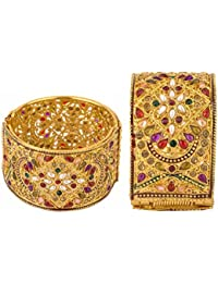 Aabhu American Diamond Pearl Kundan Gold Plated Antique Bangle Kada Bracelet Set Jewellery For Women And Girl