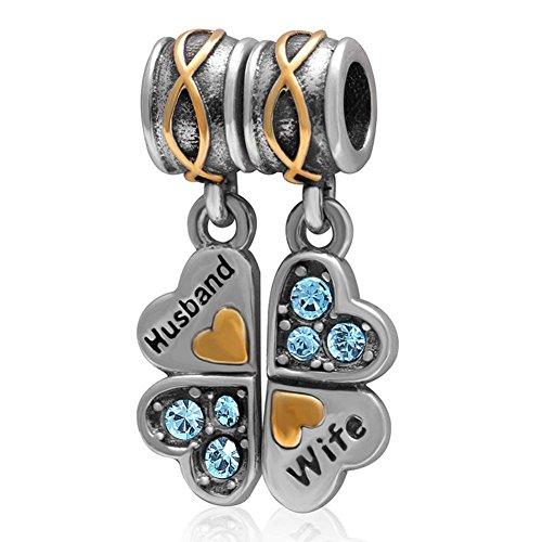 Soulbead marito e moglie in argento sterling 925, con ciondoli a forma di cuore innamorato, quadrifoglio, in cristallo, con pendenti a perle gioielli europea aquamarine crystal