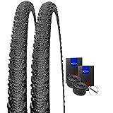 SET: 2 x Schwalbe CX Comp schwarz CROSS Reifen 35-622 / 28x1.35 + SCHWALBE Schläuche Autoventil