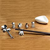 6pcs Chinese Ceramic Cat Pattern Chopstick Rest Spoon Fork Knife Holder