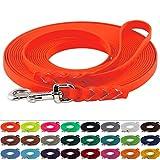 LENNIE BioThane Schleppleine, 13mm, Hunde 15-25kg, 20m lang, mit Handschlaufe, Neon-Orange, geflochten