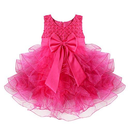 YiZYiF Baby Kleid Schleife Bowknot Blumenmädchenkleid Gr. 68-92 Hochzeit Kleinkind Verkleidung (68 (Herstellergröße:60), Rose) (Kleinkind-mädchen-halloween-kostüm)