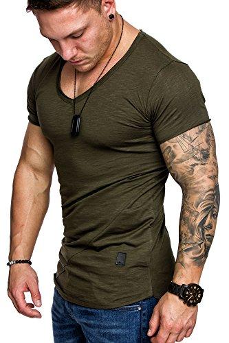 Amaci&Sons Oversize Herren Vintage T-Shirt V-Neck Basic V-Ausschnitt Shirt 6006 Khaki M