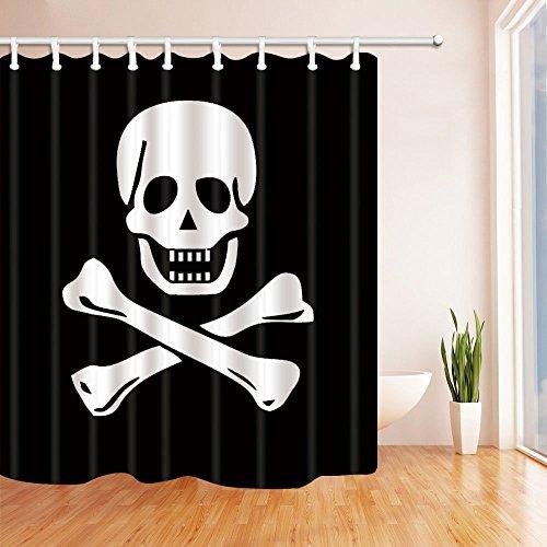 Vrupi, tenda da doccia con bandiera dei pirati, in poliestere, impermeabile, 180 x 180 cm, con ganci inclusi, colore: nero e bianco