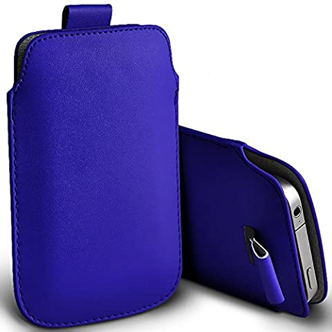 ( Blue ) Doro Phone Easy 632 Case Premium Stylish Faux Leather Pull Tab Pouch Skin Case Cover Doro Phone Easy 632 Various Colours To Choose From for Doro Phone Easy 632 By i-Tronixs
