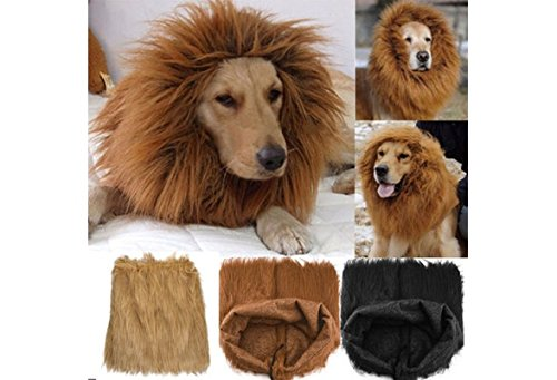 New Pet Costume Lion Mane Wig For Dog Halloween Cloth Festival Fancy Dress Up (color: Light brown,size: L)