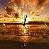 Artland Analoge Wand-Funk-oder Quarz-Uhr Digital-Druck Leinwand auf Holz-Rahmen gespannt mit Motiv idizimage Schöner tropischer Sonnenuntergang am Strand Landschaften Gewässer Meer Fotografie Orange A6XL