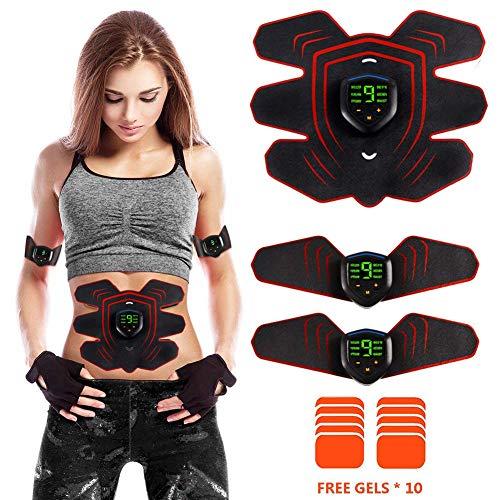 Electroestimulador Muscular Abdominales Masajeador Eléctrico Cinturón, EMS Estimulador Abdomen/Brazo/Piernas/Cintura Entrenador Muscular, USB Recargable, 9 Niveles de Intensidad (Hombre/Mujer)