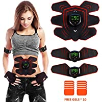 ZHENROG Abs Trainer Fitness Training Gear,EMS Muscle Stimulator with LCD Display - USB Rechargeable Ultimate Abdominal Stimulator - 6 Modes & 10 Levels Portable Muscle Toner for Men&Women