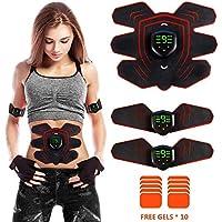 Electroestimulador Muscular Abdominales Masajeador Eléctrico Cinturón, EMS Estimulador Abdomen / Brazo / Piernas / Cintura Entrenador Muscular, USB Recargable, 9 Niveles de Intensidad (Hombre / Mujer)