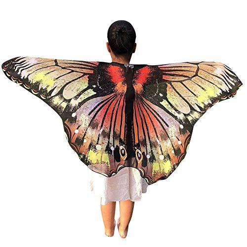Ears Kinder Schmetterlings Print Flügel Schal Poncho Kostüm Zubehör Mädchen Flügel Performance Prinzessin Modisch Swing Karneval Drucken Halstücher Party Vintage Cosplay Umschlagtücher (Vintage Bauchtanz Kostüm)
