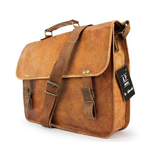 """Preisvergleich Produktbild A.P. Donovan - Leder-Tasche mit Griff für 15"""" Notebook, im vintage Look, fürs College, Büro, Business - Messenger - Organizer - Bag in braun"""