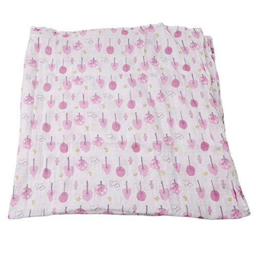ODN Cotton Pucktücher Baby Badetuch Decke 120 X 120cm (Rosa Tree)