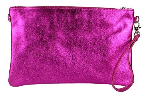 Designer Inspired Bag Purse Handtasche (Girly Handbags Echtes italienisches Metallic-Leder Clutch Bag Fuchsia)