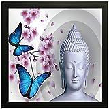 PPD Shanti Buddha Painting Exclusive Framed Wall Art Painting (Wood, 30 cm x 3 cm x 30 cm)