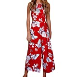Mallorma® Frauen-Sleeveless Blumendruck-Overall-beiläufige Clubwear breite Bein-Hosen Bedruckter ärmelloser Overall mit weitem Bein und Rückenausschnitt (L, rot)