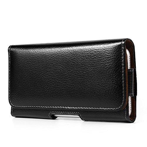 14,5cm Premium Synthetik Leder Universal Handy Holster Gürtelclip Horizontal Fall für Apple iPhone 78Plus/Samsung Galaxy S9+ s8+ Note 8/Motorola G6E5/Nokia 7Plus 6/OnePlus 65T (Schwarz) -