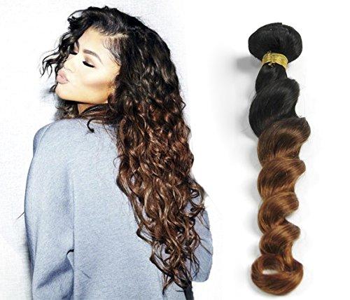 Greemeo Lot de 1 Extension de cheveux 100% humain Cheveux brésiliens frisés Bouclés Grande tresse 100 g/pièce Couleur noir marron (10 pouces/25cm, 1B/30#)