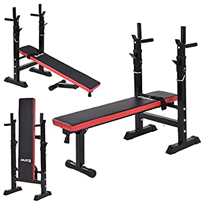 GYMAX Folding Adjustable Weight Bench Multi Sit up Workout Barbell Dip Station Home Gym Fitness Exercise Training Flat Heavy Duty Bench by GYMAX