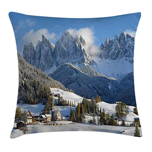 Mountain Throw Pillow Cushion Cover, Mountain Village Scenery in Winter with Snow Peaks Northern Zone Spot Alps, Decorative Square Accent Pillow Case, 18 X 18 Inches, White Blue Green